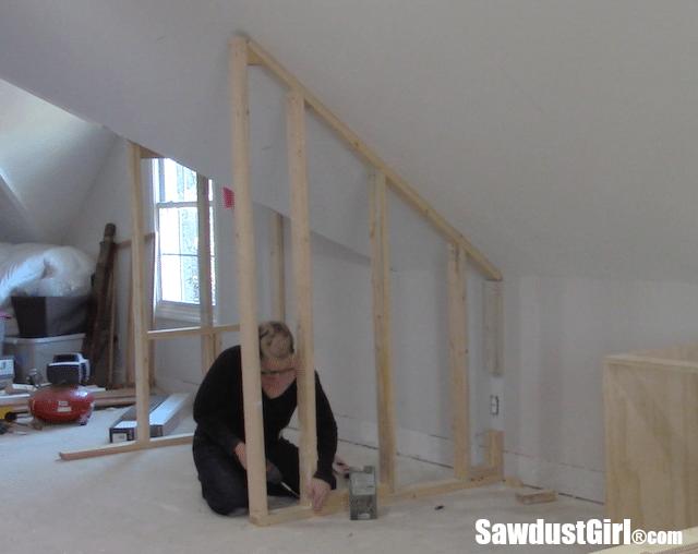 Building a closet around wonky angled ceiling