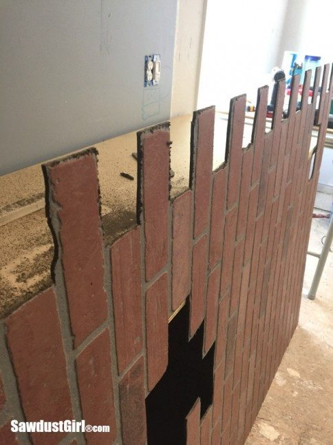 Faux brick and plaster wall with faux brick panels for Faux brick edging