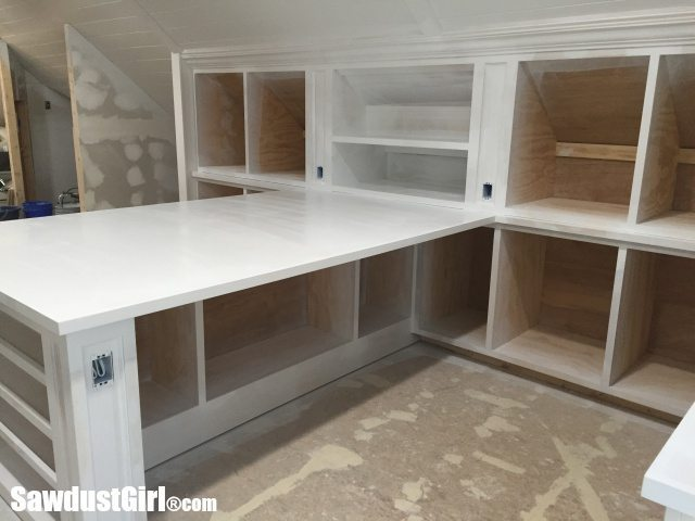 Primed Countertops and Cabinets