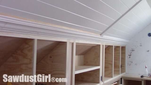 How To Install Trim >> Crown Moulding on Angled Ceiling - Sawdust Girl®
