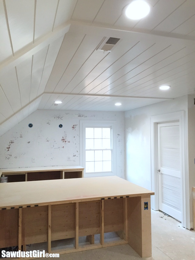 drop ceiling tile decorating ideas - V Groove Plywood Plank Ceiling Sawdust Girl