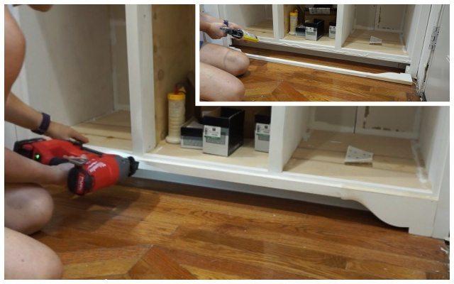 Adding decorative toe-kick on cabinet
