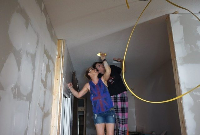 Moving Can Lights and Drywalling the Ceiling