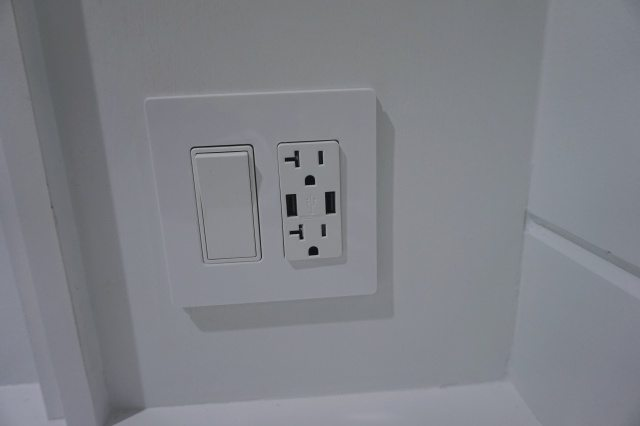 New power outlet and light switch