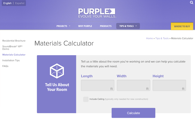 PURPLE XP® Drywall materials calculator