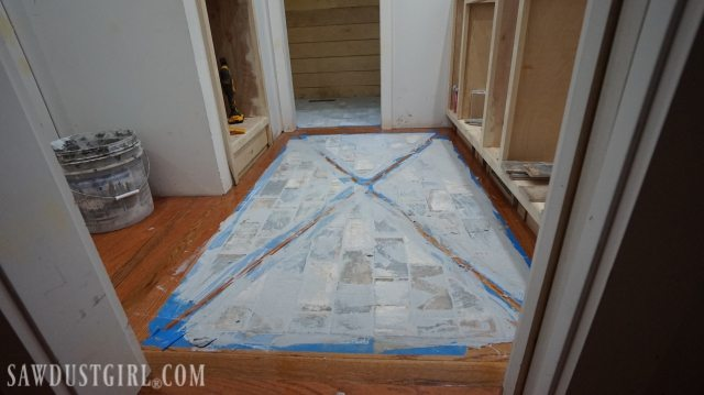 How To Install A Wood Floor With Tile Inlay Sawdust Girl