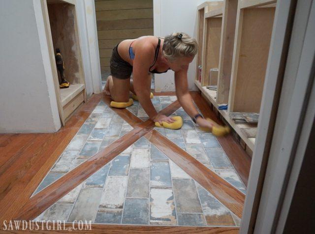 Wood Floor with Tile Inlay