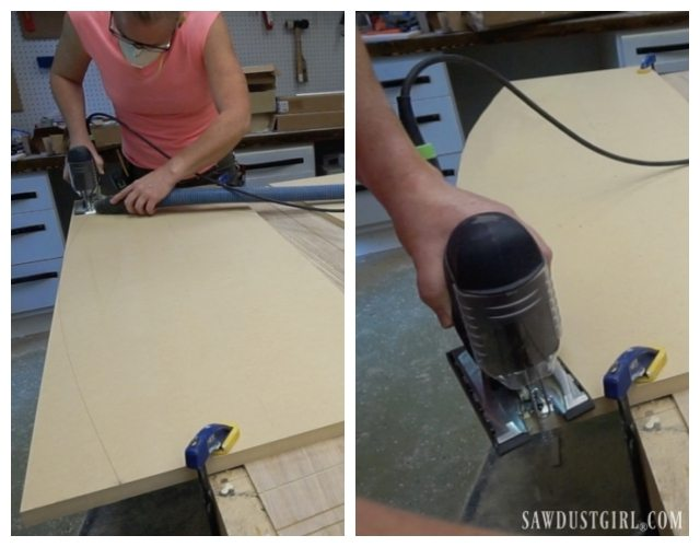 Cutting a curved desk top