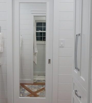 Mirrored Pocket Door – Jack and Jill Bathroom Update