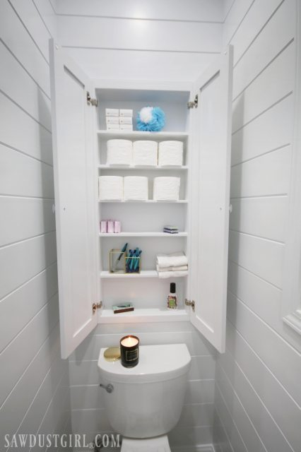 Toilet Paper Storage Cabinet Built In The Wall Between Studs
