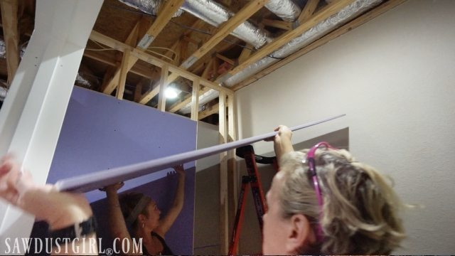 Installing PURPLE XP Drywall on a ceiling