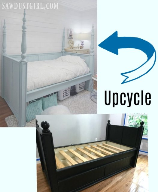 Small bedroom woes? Here is a pretty bedroom upcycle idea: Salvaged table legs and finials give a daybed a small footprint, extra storage, and lots of wow!
