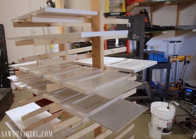 Cabinet door paint drying rack