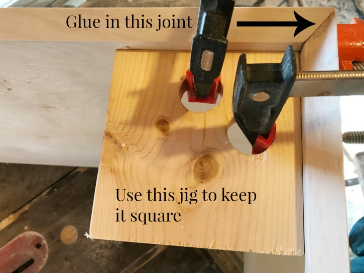 Mitered Edge Wood Joint With Homemade 90 Degree Clamps