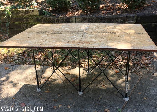 The Centipede sawhorse is a lightweight, mobile work table is easy to carry, set up, collapse and store! is so light I can hold it in one hand.
