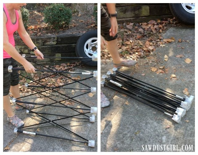 The Centipede sawhorse table collapses to a small, easy to store bundle!