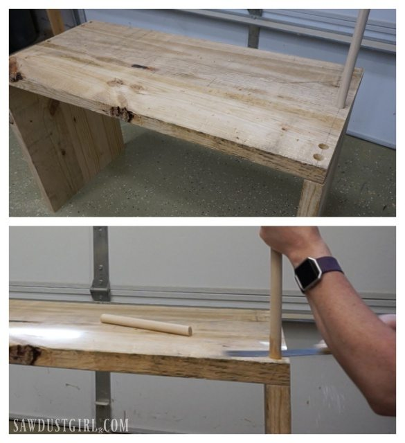 Strengthening diy table joints with wood dowels.