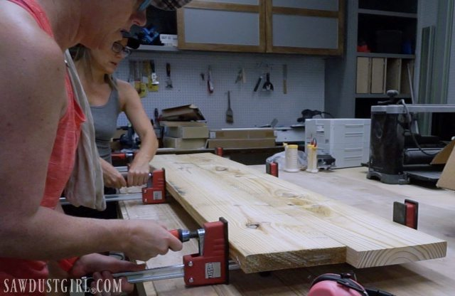 Clamping wood to build two nightstands