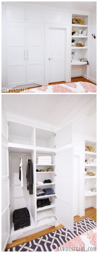 Custom closets built into wall. What a great closet storage solution!