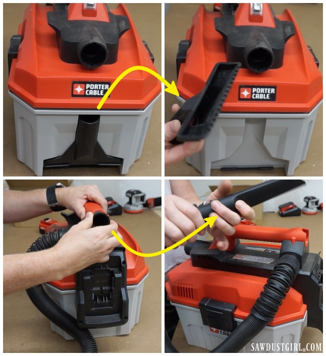 Porter-Cable 20V MAX Wet-Dry Vac on board tool storage.
