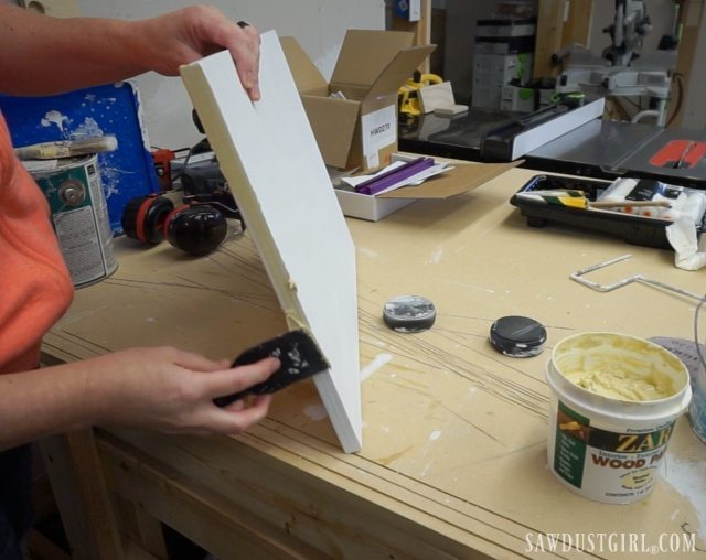 Using wood patch to fill pitted plywood edges