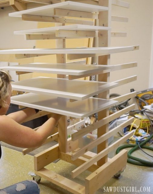 Painting plywood shelves