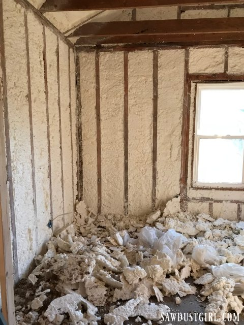 Trimming off excess of Spray foam insulation