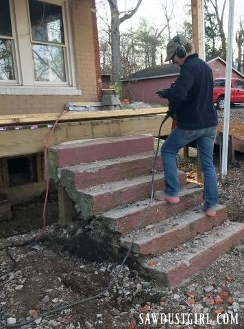 Breaking up concrete steps
