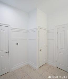 Board and Batten Wainscoting in Basement Bathroom