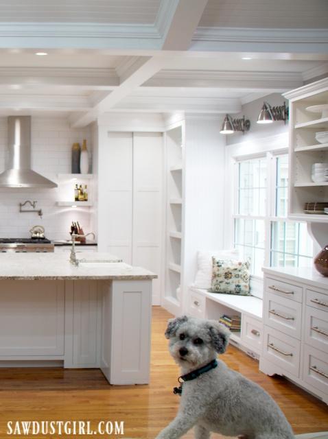 Kitchen, white cabinets, white granite