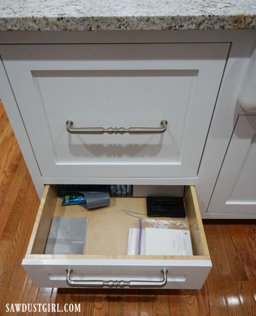 Storage drawer under dishwasher