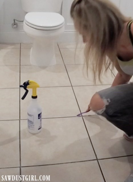 Cleaning grout before using grout paint