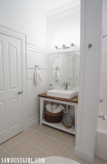 Basement bathroom vanity reveal