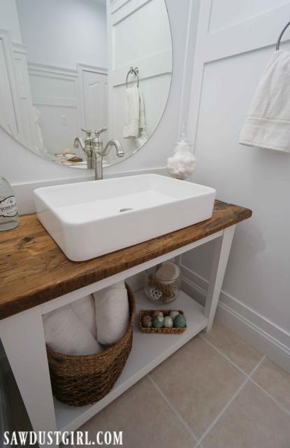 vanity with live edge wood top