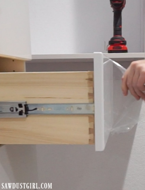 Drawer front protective plastic
