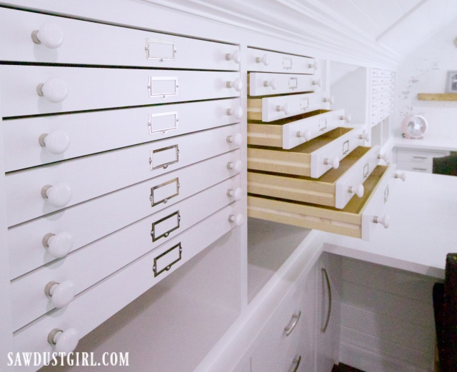 Map drawers in the Ultimate craft room