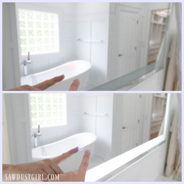 lighted mirrors in master bathroom