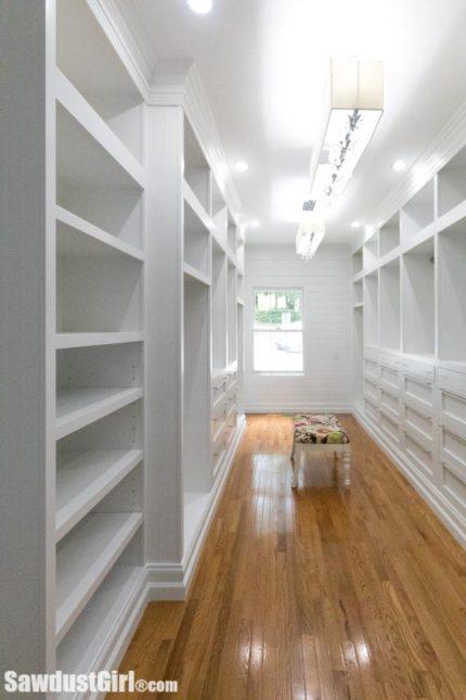 Custom built-in walk-in closet cabinets