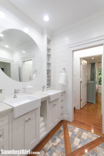 jack and jill bathroom with tons of storage