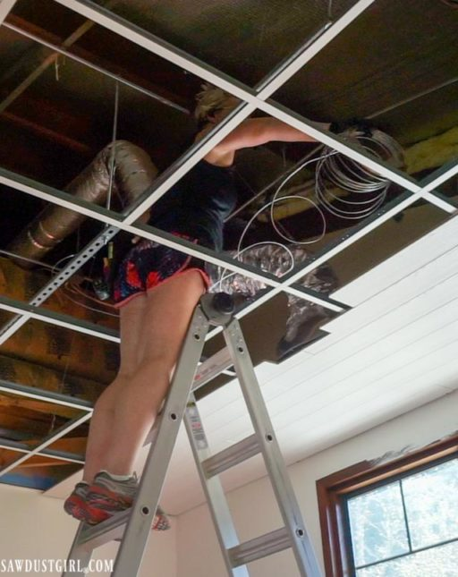 installing HVAC vents in wood planks that attach to drop ceiling grid