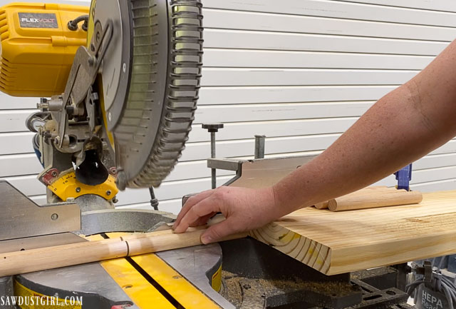 Stop block for miter saw for consistent length cuts.